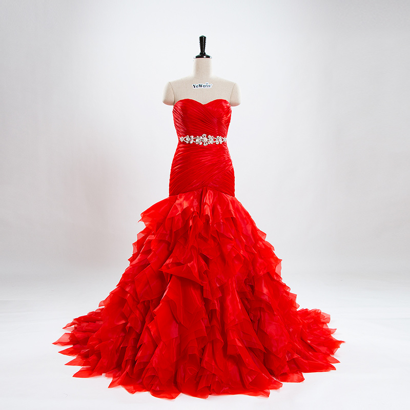 Buy yewen red mermaid wedding dresses for Cascading ruffles wedding dress