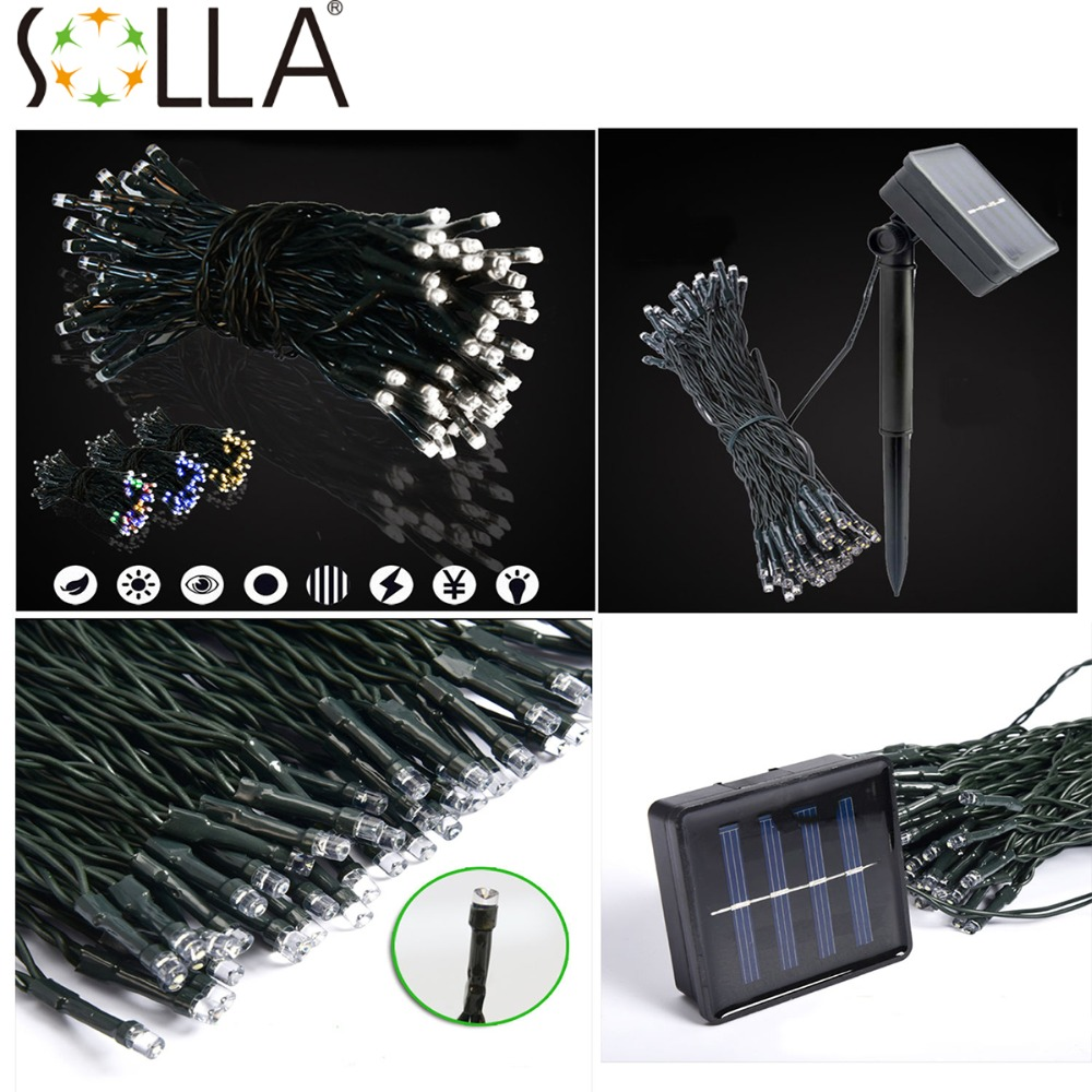 2016 Colorful Solar Energy Powered 100 LED String Fairy Bright Light Atmosphere Lamp(China (Mainland))
