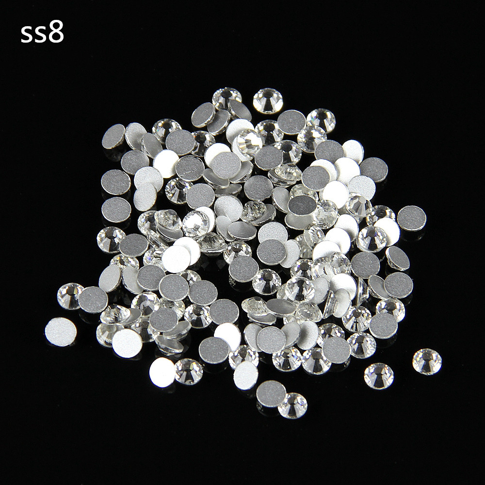Hot Sale SS8 (2.3-2.5mm) Crystal Clear Flatback Rhinestones Non Hotfix Chatons Glass Stones 1440pcs(China (Mainland))