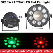Buy 4Pcs 9X10W+1X20W RGBW 4IN1 Led Flat Par Cans 120W High Power Stage Par Light Professional Stage Dj Disco Lights for $300.00 in AliExpress store