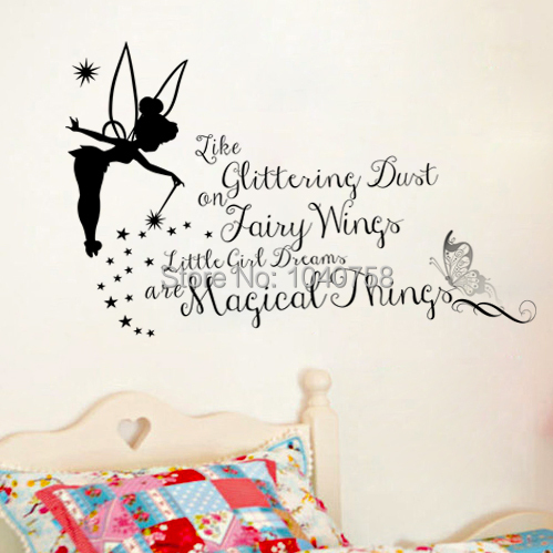 Tinker Bell Cartoon Princess Wall Stickers For Girls Room Fairy Wing Tinkerbell Decorative Wall Decals Home Decoration Wallpaper Good Wall Decor