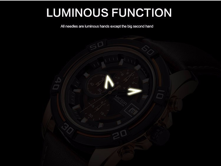 MEGIR часы Мужчин Спортивные Часы мужские Кварцевые Часы Хронограф 6 Руки Часы Человек Кожаный Ремешок Военные Наручные Часы