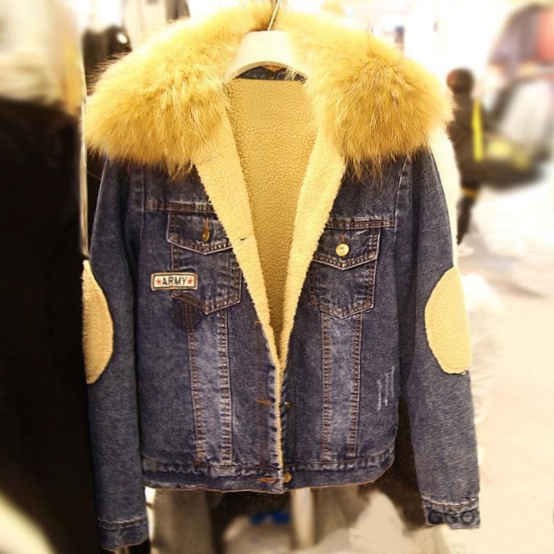 Free shopping winter large size women fat mm plus thick velvet coat fur collar denim jacket / XL-5XL(China (Mainland))