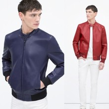 2015 New Men ZA Genuine Cow Leather Red Royal Blue Solid Color Jackets white lined leather jacket Male chaqueta Tops 0706/422(China (Mainland))