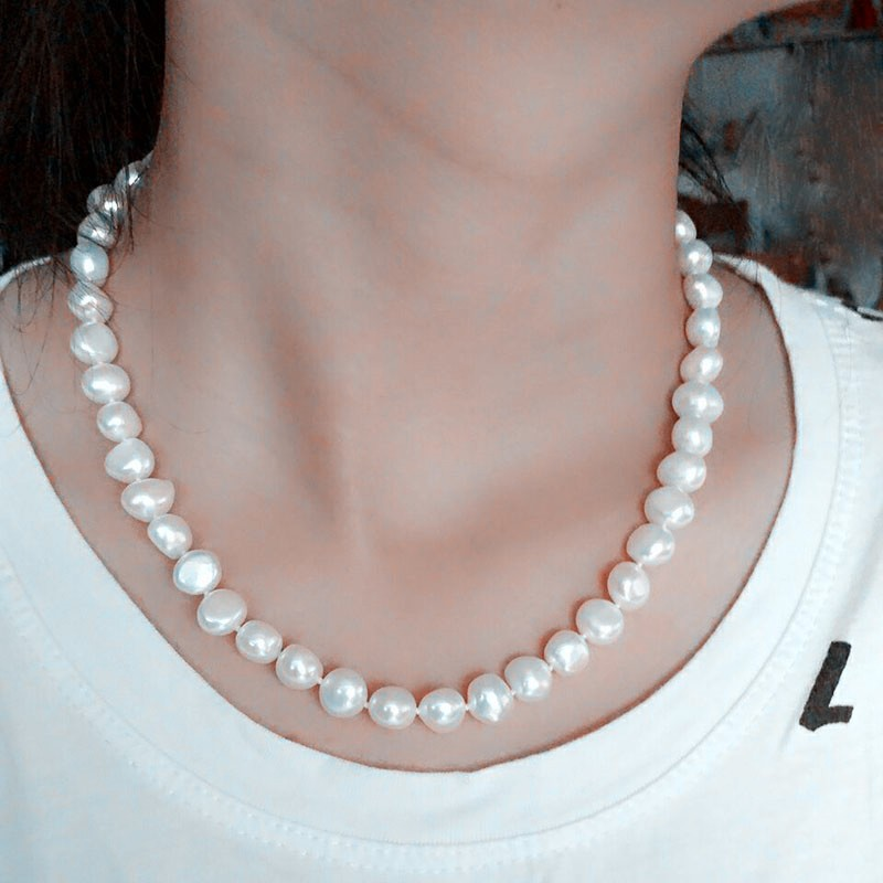 HTB1f3aMKVXXXXbGXFXXq6xXFXXXd - [ZHIXI] Pearl Jewelry Fine Freshwater Pearl Necklace Natural Baroque Pearl Necklace 9-10mm White Stone Choker For Women X1009