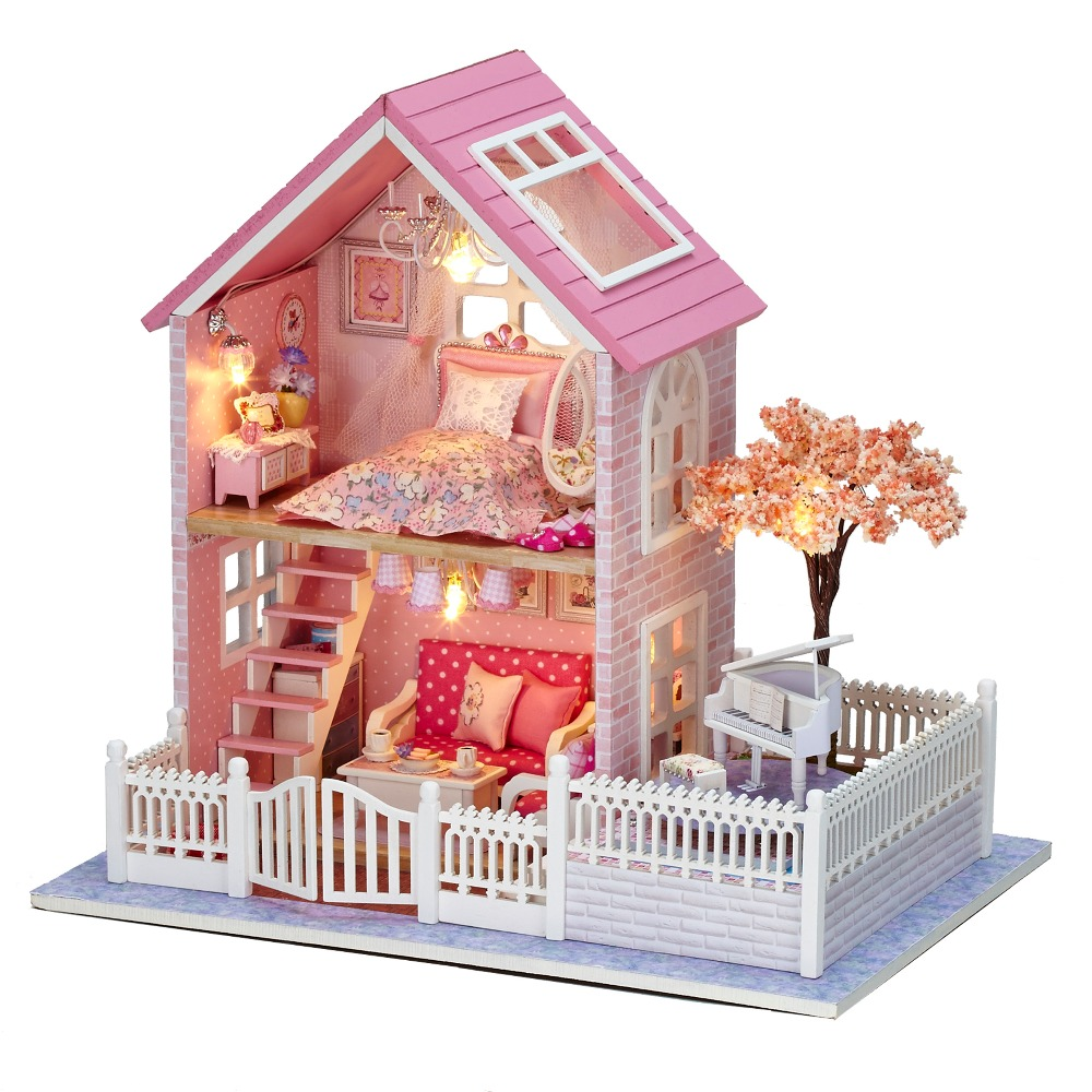 Free Shipping Doll House Diy miniature 3D Wooden Puzzle Dollhouse Furniture House Doll For Birthday Gift Toys(China (Mainland))
