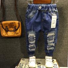 Neue 2016 Jungen Mädchen Jeans 2-7Yrs Kinder Gebrochen Loch Jeans Hosen Mode Baby Kinder Hosen Hohe Qualität Kinder Hosen ZJ04(China (Mainland))