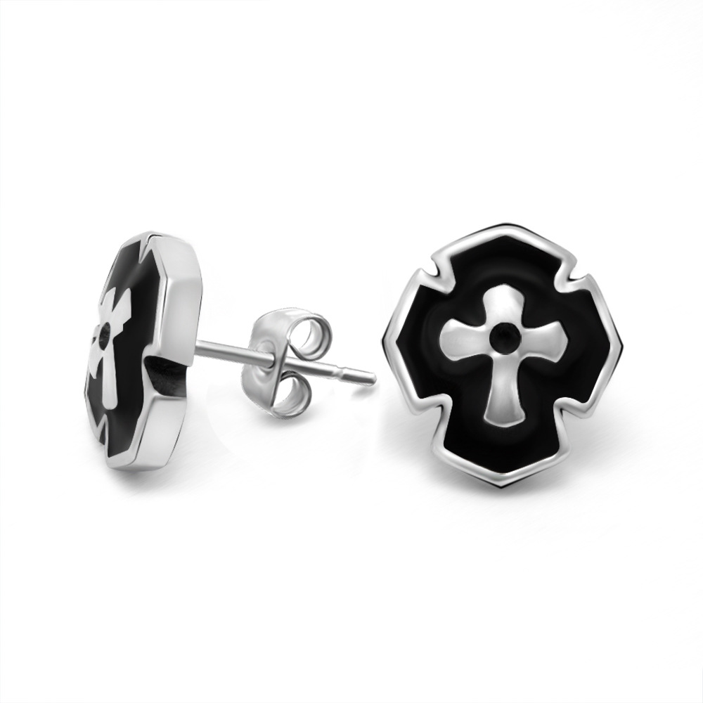 South Korean men's titanium steel cross earrings hypoallergenic single ear bone nail fashion personality earrings wholesale CF06(China (Mainland))
