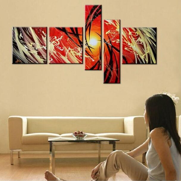 2014 new Upscale living room decorative hand-painted oil painting abstract modern furniture bar 4S shop mural sofa background(China (Mainland))