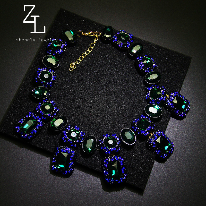 2015 New Fashion Jewelry Chocker Necklace Flower Statement emerald Collar Necklaces & Pendants Accessories Pendant For Women(China (Mainland))
