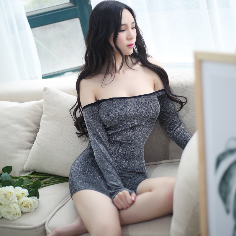 New Arrival Women Sexy Long Sleeve Dress off the Shoulder Baby Doll Night Club Slim Dress Erotic Sexy Lingerie Elastic Party Dre(China (Mainland))