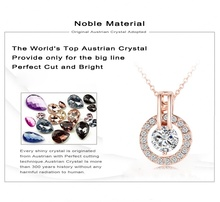 Women Jewelry Classic Necklace Real 18K Rose Gold Plated Genuine Austrian Crystal Round Pendant Necklace NL0455