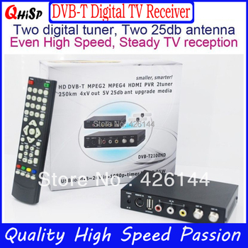 2015 Included Arabic Iptv 259km/h Car Dvb-t Box Mpeg4 H.264 Two Tuners, Pvr Usb Record Function For Automobile Tv Receiver New