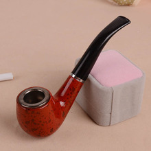 Free Shipping 5PCS/Lot Acrylic Polished Durable Wooden Tobacco Smoking Pipe Cigar Pipes with Gift Box