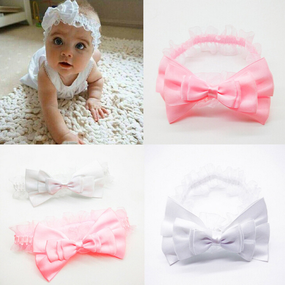 Free Shipping Hot Sale Chidren Headband Kids Toddler Bow Turban Big Bow Headwrap Solid Bow Headband(China (Mainland))