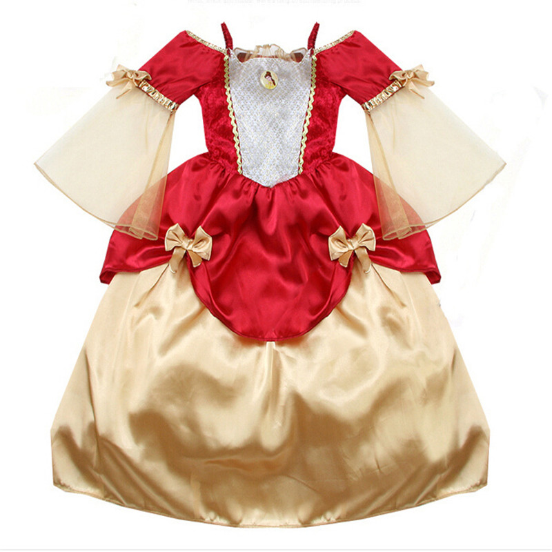 Top 2016 new child clothes baby grils dress flowers red Joining together sleeping beauty princess dress size 100-140(China (Mainland))