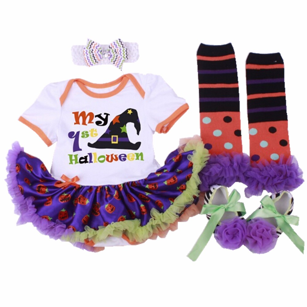 Newborn Baby girl clothes Cotton Pumpkin Hat stickers Halloween Romper Tutu Dress+Shoes+Socks+Headband 4pcs/sets Baby clothing(China (Mainland))