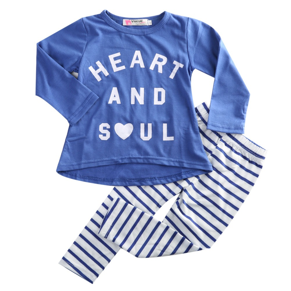 2 Pcs set!!Fashion Baby Kids Girls Long Sleeved Cotton O Neck Letter Shirt Blouse +Long Striped Pant Leggings Outfits 1-6Y