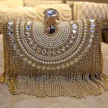 Women High Quality Rhinestone Pearl Evening Clutch Shoulder Chain Tassel Handbags Purse Wallet Wedding Party Mini Princess Bags