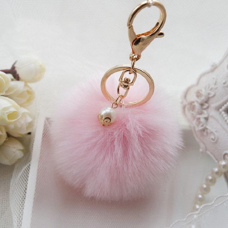 New Fashion Fluffy Fur Ball Pompom Key Chain Cute Keychains Rabbit Fur Ball Pom PomKeychain For Car Key Ring Holder for BagQC07(China (Mainland))