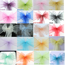 Wholesale 100pcs/lot high quality  Wedding Organza Chair Cover Sashes 24 colors Sashes Party decoration beautiful chair bow(China (Mainland))