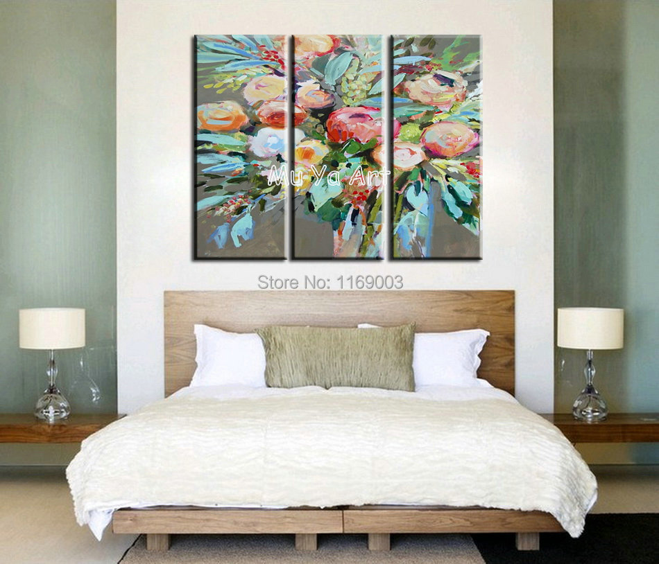 Abstract modern 3 panel canvas wall art flower oil for 3 panel wall art