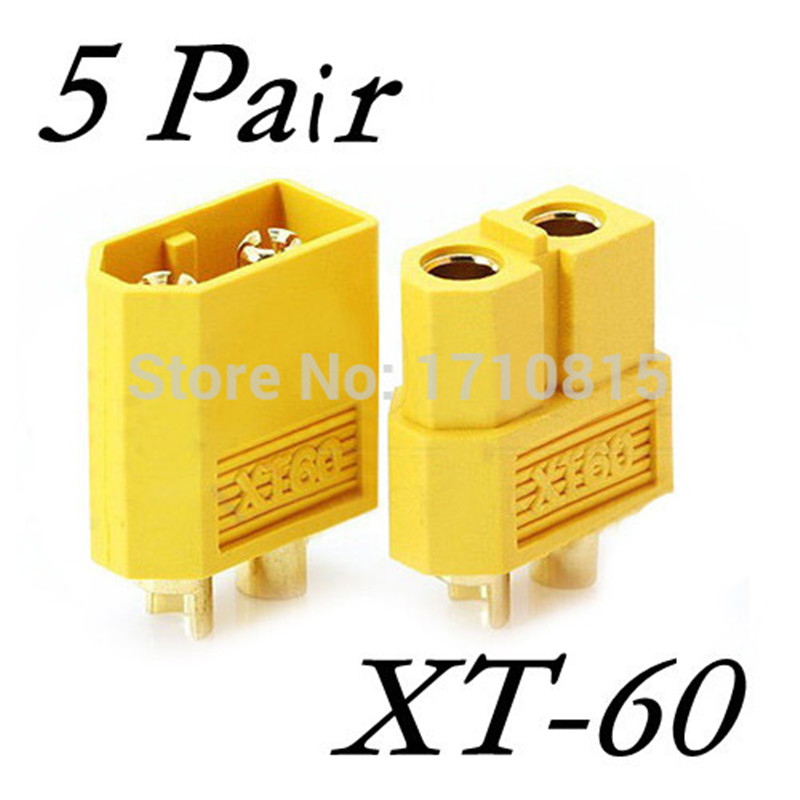 Wholesale 5 Pair Of XT60 XT-60 Male Female Bullet Connectors Plugs For RC Lipo Battery Quadcopter Multicopter Free Shipping(China (Mainland))