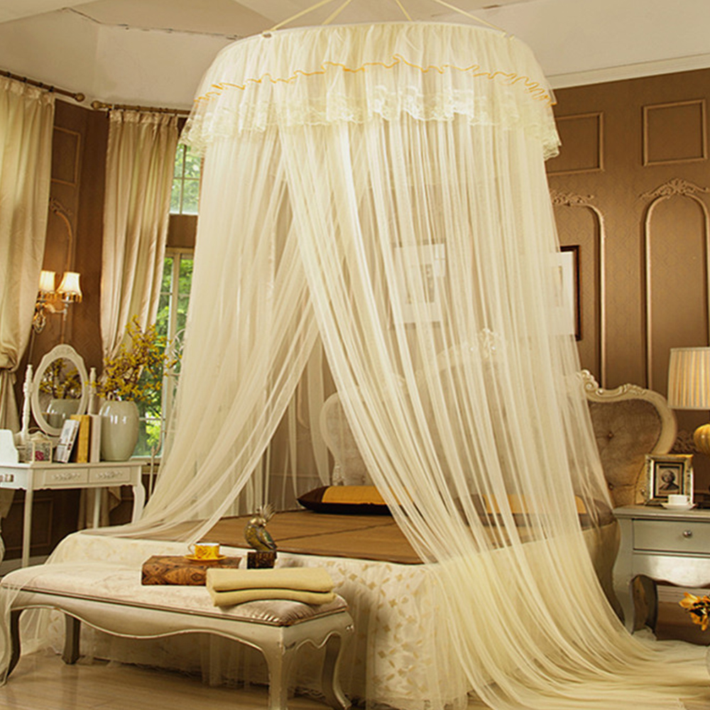 Cute Beige Pink Girls Hung Dome Mosquito Net for Double Bed Solid Lace Summer Round Canopy Beds Zanzariera Moustiquaire Lit(China (Mainland))
