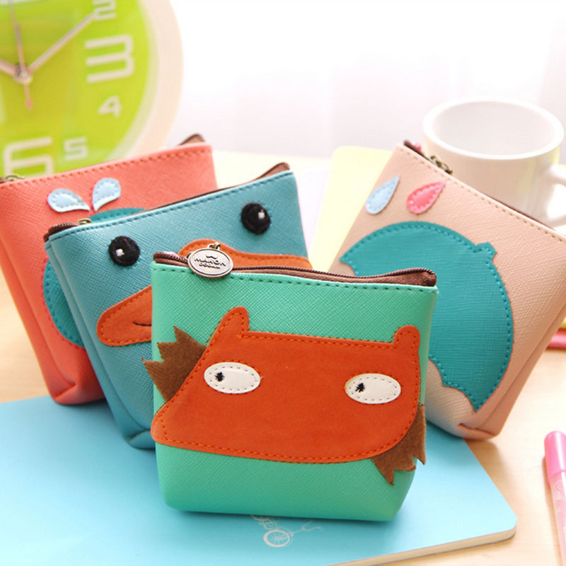 4color cute animal leather zipper Kids Wallet Kawaii Bag Coin Pouch Children girl Purse Holder Women Coin Wallet Free shipping(China (Mainland))