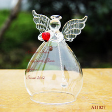 Christmas Handmade Japan Wedding Decor Gift For Guests Married Glass Angel With Red Heart Wind Beautiful Gift Car Pendant