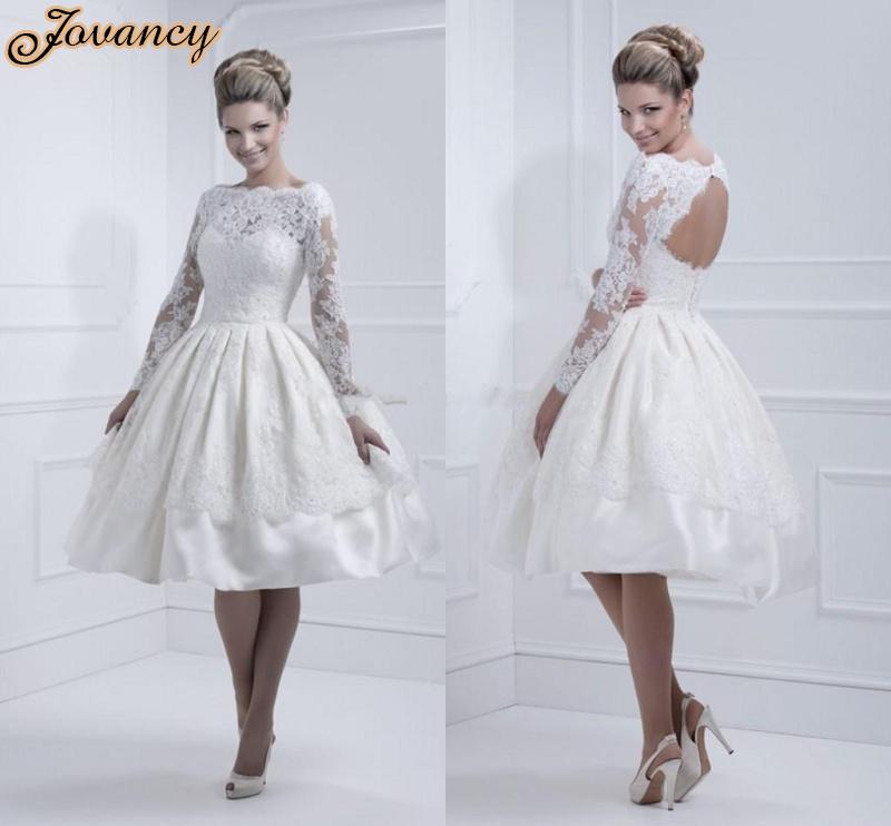 Elegant short knee length high neck long sleeve open back for Knee high wedding dresses