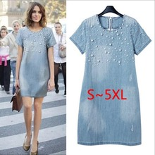 Buy Large size 5XL Sundress Jeans Women's casual plus size vestidos embroidery beaded Denim Dresses big sizes Party Summer Dress for $13.31 in AliExpress store