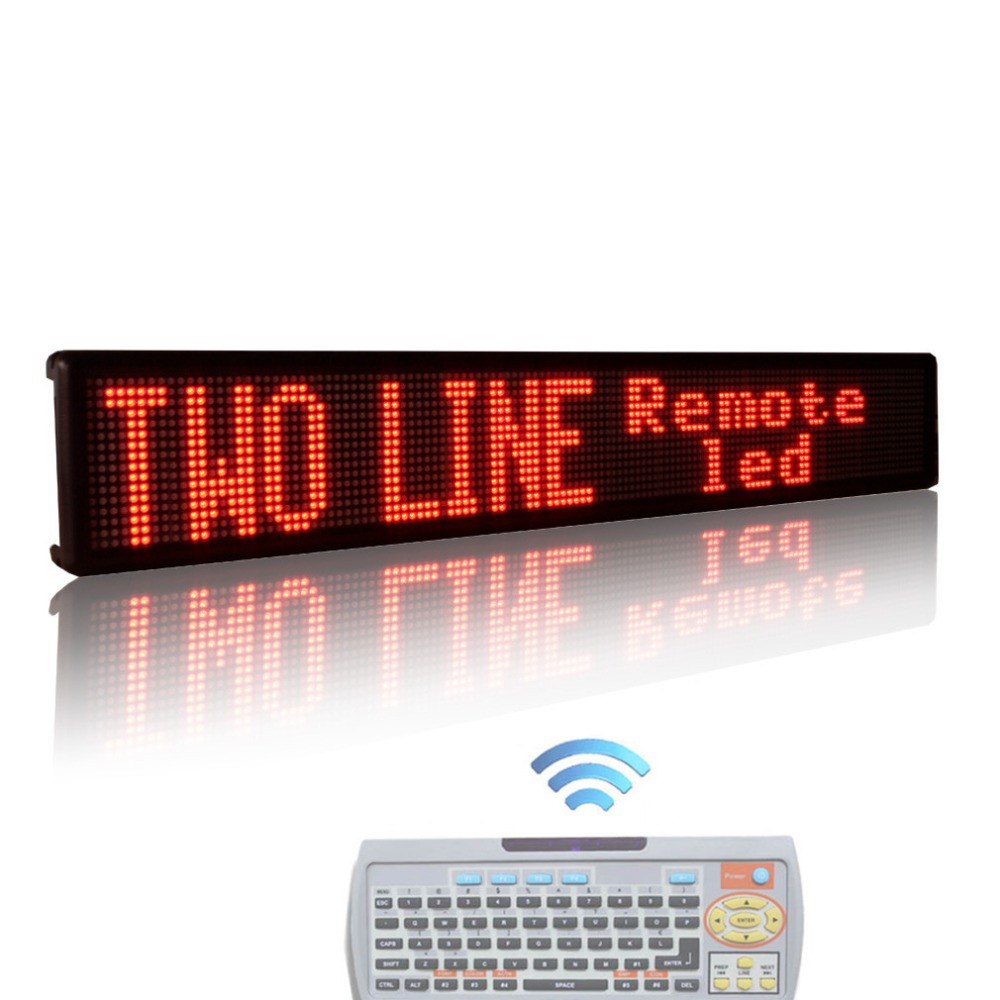 P7.62mm 40 x 6.3inches RED Indoor led display Remote Control Two Lines Running English Text LED sign Display Board with Keyboard(China (Mainland))