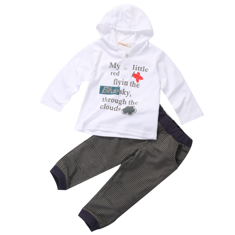2015 Lovely Toddler Child Boys Set Kids Hooded Cotton T Shirt and Plaid Pants Casual 2pcs Long Sleeve Baby Boys Clothing Sets(China (Mainland))