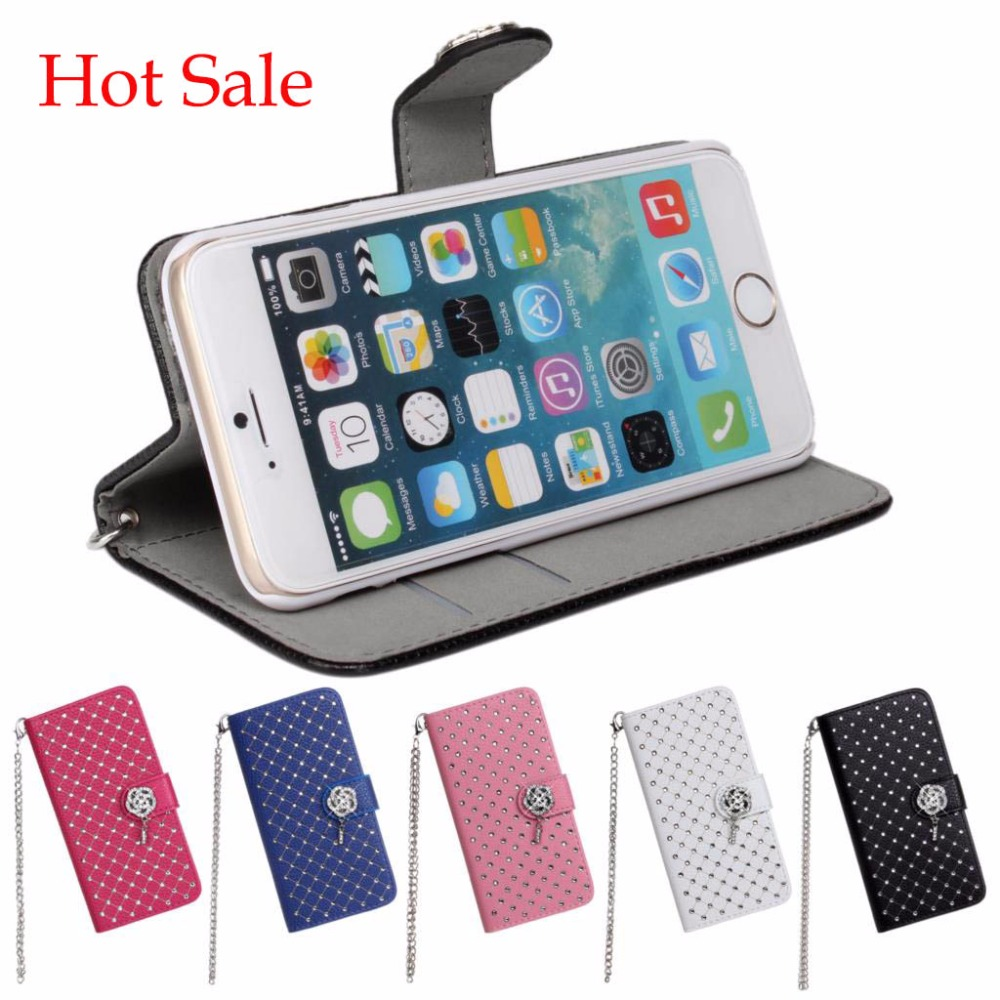 Glitter Rhinestone Fashion Chain Leather Cover Cases for Apple iPhone 6 6S 5SE Samsung Galaxy S5 Note 3 Sony Xperia Z4(China (Mainland))