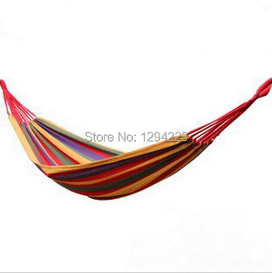 280x80cm bearing 120kg outdoor colored canvas double hammock outdoor camping hammock chair swing camping survival hammocks(China (Mainland))