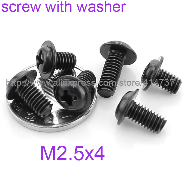 1000pcs/lot M2.5*4 Steel With black phillips round head Miniature screw with washer Computer screw<br><br>Aliexpress