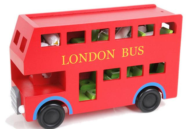 2016 New wood toy Blocks Red bus London Bus Baby toy baby educational toy Gifts WTC43(China (Mainland))