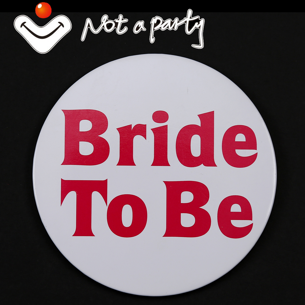 12pcs 10cm large fun button Wedding birthday event badge White bride to be decorative for bachelorette party hens night mariage(China (Mainland))