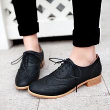 Round toe retro lace neutral low heel 3 cm casual oxfords shoe women ankle shoes top size four seasons