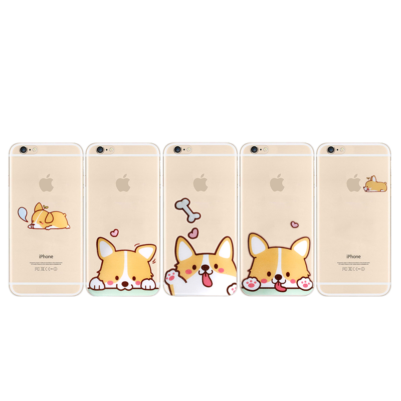 Fashionable Cartoon Dog Corgi Cute Lovely Clear Transparent TPU Back Case Cover Skin for iPhone 6/6s 6 Plus/6s Plus(China (Mainland))