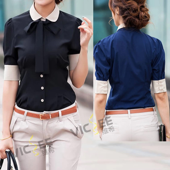 2014 summer peter pan collar bow short sleeve patchwork blue black blouse work wear stitching career shirt - VICSEE International Apparel Ltd store