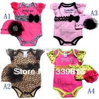 2016 Hot Sell Newborn Baby Girl's Summer 2-piece Bodysuit Sets for Infant 3-12 Months (Leopard, Zebra, Pink & Rosy Color)