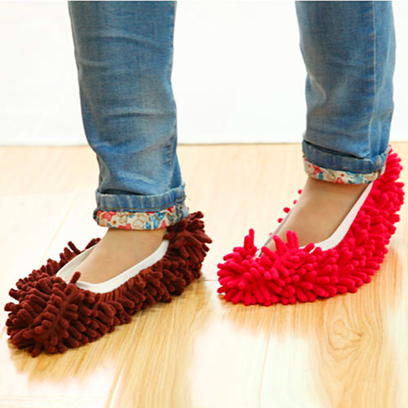 1pc High Density Chenille Dust Mop Slippers House Cleaner Slipper Mops Floor Cleaning Shoes Cover Mop,Purple/Orange(China (Mainland))