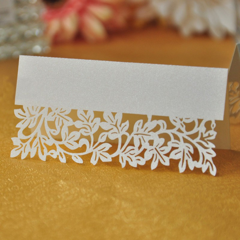 36PCS Pure White Natural Leaf Party Wedding Table Place Card Invitation Name Cards Free Shipping(China (Mainland))