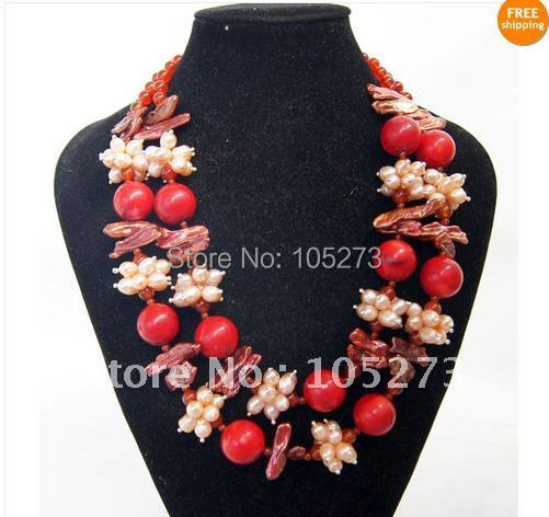 DOUBLE STRAND NECKLACE WITH CORAL PEARL CARNELIAN 17-19INCHS FASHION JEWELLERY HOT SALE NEW FREE SHIPPING FN859A<br><br>Aliexpress
