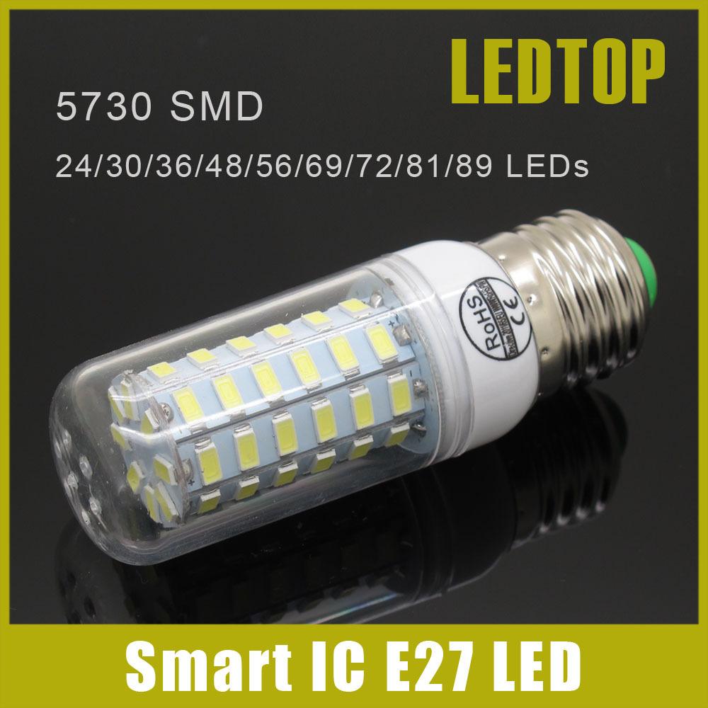 Smart IC Drive SMD 5730 E27 E14 LED Lamp 3w 5W 9w 10W 12w 15W 20w 25W 27w 30W 35w AC 220V 5730SMD LED Corn Bulb Light Chandelier(China (Mainland))