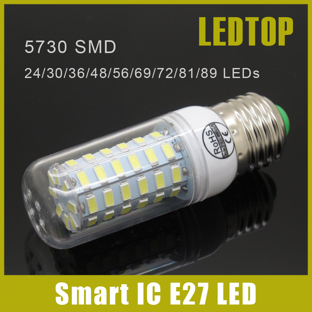 Smart IC Drive SMD 5730 E27 E14 LED Lamp 3w 5W 9w 10W 12w 15W 20w 25W 27w 30W 35w AC 220V 5730SMD LED Corn Bulb Light Chandelier(China (Mainland))