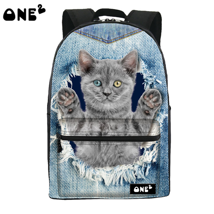 ONE2 Design animal jean blue school bag cute cat laptop backpack teenager boys girls women man college university students(China (Mainland))