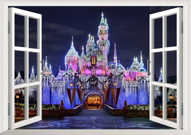 Стикер стены 3D древних принцесса замок вид из окна на стены декора дома с для детская комната отличительные знаки дети декор